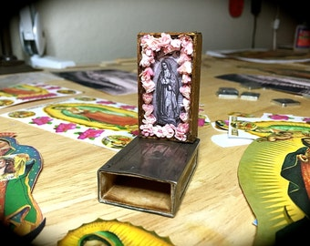Stunning 925- 3D GUADALUPE Shrine inside GHF Sterling 1920's matchbox- OOAK for your Protection and Blessings at home and on the road