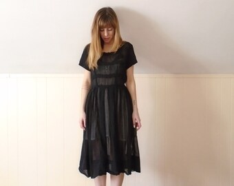 50s Black Short Sleeve Crochet Lace Trim Calf Length Tea Dress - SMALL MEDIUM S M 4 6
