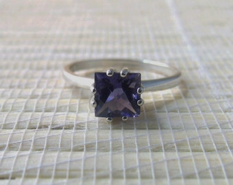 Iolite Square Ring Sterling Silver September Birthstone Made To Order