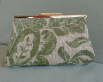 Clutch Bag Handbag Pocketbook Green Tan Floral