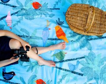 Beach Blanket- Tropical Birds- Picnic Blanket, Waterproof, Personalized