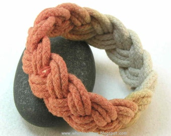 Celosia orange rope bracelets cotton dip dyed ombré turks head knot cuffs 3131
