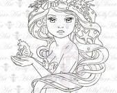 Digital Mermaid Stamp - 50 cents off - digital stamp Card Making Printable Coloring Page Digi line clip art Holly Durr