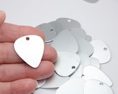 "Aluminum Guitar Picks, 1"" x 1.1"", Frost Anodized Aluminum Stamping Blanks, 21 Gauge Matte Silver Tone, 2mm Hole"