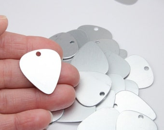 "Aluminum Guitar Picks, 6+ 1"" x 1.1"", Frost Anodized Aluminum Stamping Blanks, 21 Gauge Matte Silver Tone, 2mm Hole"