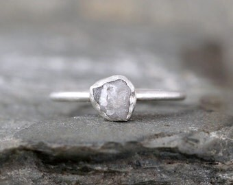 Raw Diamond Ring - Sterling Silver Bezel Set - Rough Diamond - Engagement Ring - Promise Ring - April Birthstone Rings