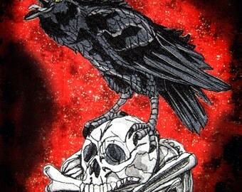 Giant Raven Crow Black Bird on a Skull Iron ON Patch sew on  Never more Applique