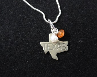Texas Longhorns Necklace, Tiny Texas State Map Sterling Silver Map Charm, Orange Carnelian & White Pearl Beaded Pendant, Texas Necklace