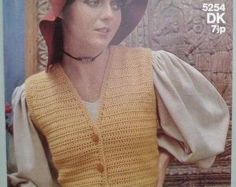 Vintage crochet pattern 1970s women's waistcoat with peplum fitted sleeveless top 70s original pattern Sirdar No. 5254 UK