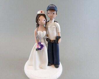 Cake Topper Custom Handmade Police Officer & Nurse Wedding