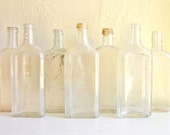 Instant Collection of Clear Glass Bottles 7 Old Bottles Vignette Centerpiece