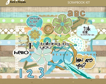 Talk digital scrapbook kit. Instant download digital kit for scrapbook and crafts