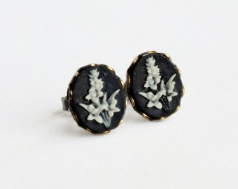 Black Flower Studs Small Floral Earring Studs Vintage Cameo Post Earrings Black Cameo Studs Hypoallergenic Studs Black Floral Jewelry