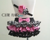 Baby Ruffle Bloomer and Matching Headband - Diaper Cover - Newborn Photo Prop - Cake Smash Outfit - Ruffle Bloomers-Size 6-12M Ready to ship