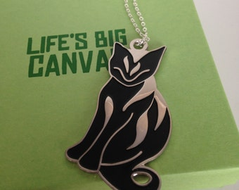 SALE - Silver plated enamel necklace - Ginger cat - Tiddles in black
