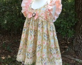 Pre-Order Sunset Floral Girls Swing Top Set, Girls Fall Outfit, Back to School, Girls Tunic Top