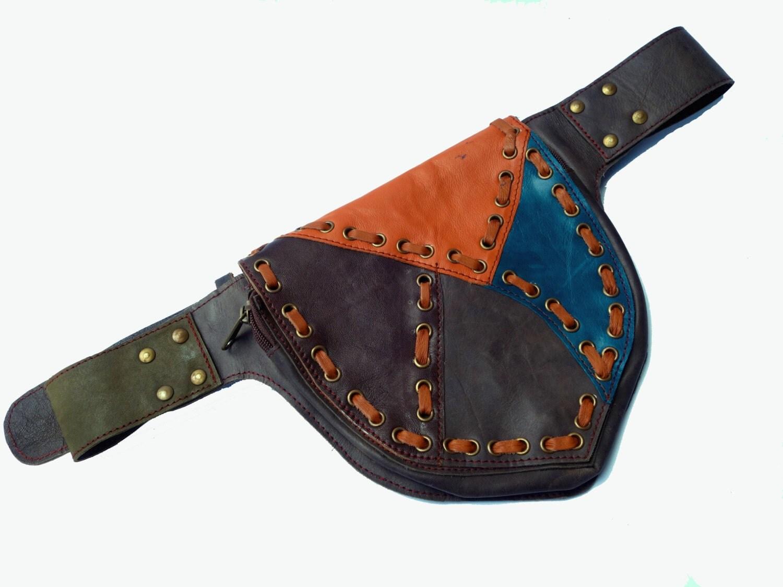 leather festival belt brown and teal patchwork 2 pockets