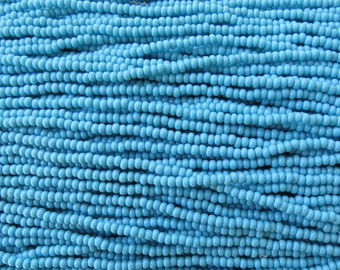 8/0 Opaque Blue Turquoise Czech Glass Seed Bead Strand (CW85)