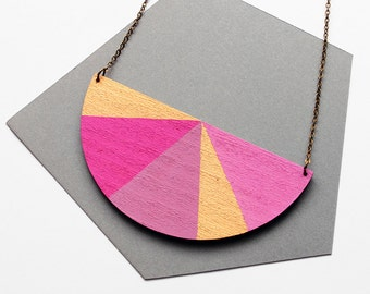 Half circle geometric wooden necklace - pink, purple, rose, gold, magenta - minimalist, modern jewelry - color blocking