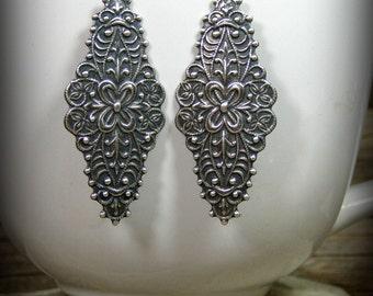 Silver Earrings, Art Deco Earrings, Long Earrings, Victorian Earrings, Bohemian Earrings, Boho Earrings, Ornate Earrings, Bohemian Jewelry