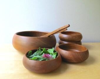 vintage teak salad bowl set serving spoon and fork