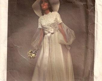 1970s Sewing Pattern - Vintage Vogue Wedding Dress - Sewing  Pattern -Vogue 2254 -High Waist - Bridesmaid Dress Pattern - 70s Bridal Gown