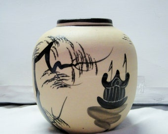 "Beige Black Asian Inspired Hand Painted Vase 5"" x 5"""
