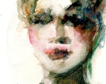 Art Print, Female Figure, Watercolor Woman, Wall Art, Free Shipping, Female Portrait, Dark Green, Red and Green, Romantic Painting