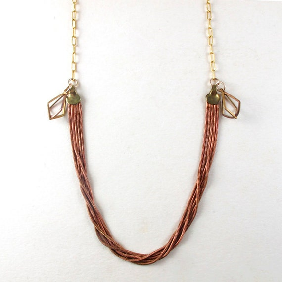 Copper chain and brass diamonds necklace, Vintage findings necklace on gold chain