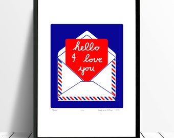 Hello Limited Edition Screen Print (Crimson and Cobalt) A3 size