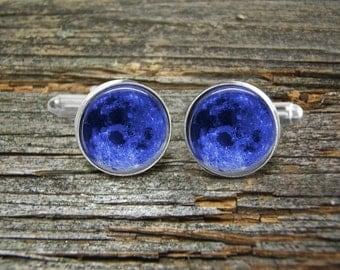 Blue Moon Cufflinks -Wedding-Cufflink Box-Jewelry Box-Silver-Keepsake-Man gift-Science-Men-Geek--Groom-Groomsmen-Science-Astronomy