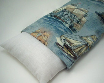 Sailing Ship Microwave Rice Bag - Blue Therapy Cold & Heat Pack  - Nautical Hot Pack - Removable Washable Cover - 7x 4 1/2 inches