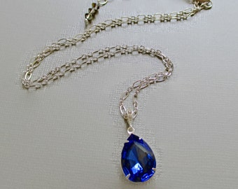 September Birthstone Gift - Sapphire Crystal Necklace - Bridesmaid Necklace - Blue Necklace - CAMBRIDGE Sapphire