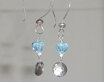 Topaz Sky Blue Trillion Sterling Silver Hand Made French Earring Wires Free Shipping
