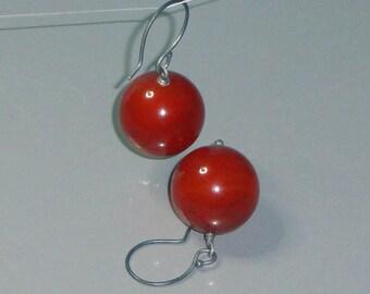 Carnelian Jumbo 20mm Sphere Sterling Silver Earrings