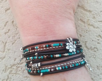 Boho Leather Wrap Bracelet - Multistrand Cuff - Modern Rustic Wrap -Turquoise Armlet - Choose 4 Charms - Customizable - Best Selling Item