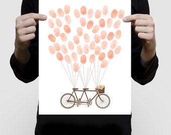 "tandem bicycle wedding fingerprint guest book 11x14"" print - engagement bike cycling balloons thumbprint alternative illustration artwork"