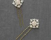 Small Bridal Hair Pins | Crystal Hairpins | Rhinestone Wedding Hair Comb [Elizabeth Hairpin]