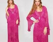 Vintage 70s ADINI Maxi Dress Fuchsia INDIAN Cotton Floral Maxi Dress BELL Sleeve Boho Dress Hippie Dress