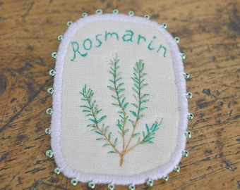 SALE! Textile Brooch with Herbs - Rosmarin - hand embroidery unique spring jewellery. Botanical embroidery art.
