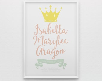 Royal princess birth stats nursery art print, pink mint green, crown