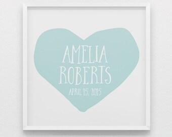 Robins egg blue heart name art print, birthday gift for girls