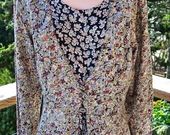 Floral Dress, 80s maxi dress, Romantic dress, Hippie dress, Indian dress, size M / L