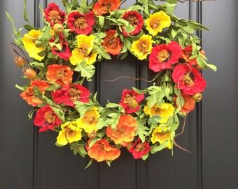 Poppy Wreaths, Wreaths, Summer Wreaths, Red Poppy Wreath, Summer Poppies, Orange Poppies, Summer Door Wreaths, Decorative Summer Wreaths