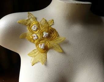 Beaded Lace Flower Applique in Sunflower Organza CA 615sunfl