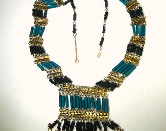 Egyptian Tourist  Beaded BIB Necklace, Turquoise Blue Faiance CeramicTube Beads, Linked w Gold Metal Dangles 1980s,
