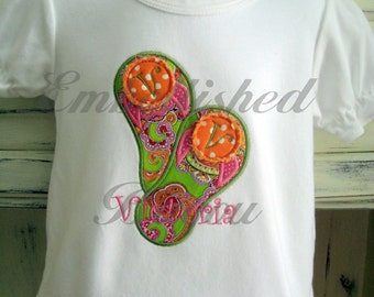Personalized Applique Flip Flop Ruffle T-Shirt or Onesie