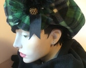 Green Plaid Tam, Fleece Beret, ladies warm hat