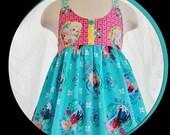 Girls Frozen Spring-Summer Dress- (New Fabric)  Ready to Ship  Girls size 1T