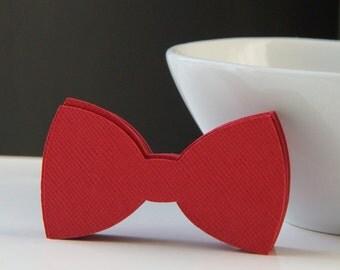 """20 Medium Bow Tie Die Cut Tags in Red . 2.5"""" x 1.5"""""""